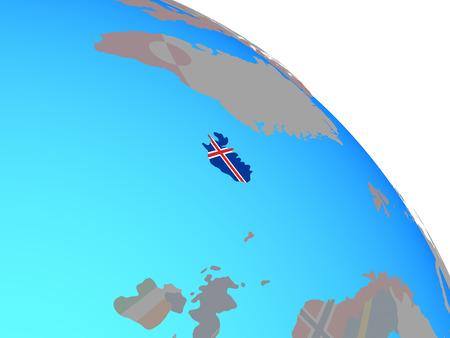 Iceland with national flag on simple blue political globe. 3D illustration.