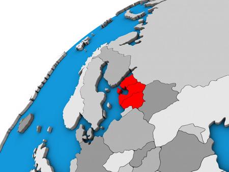 Baltic States on 3D globe. 3D illustration.