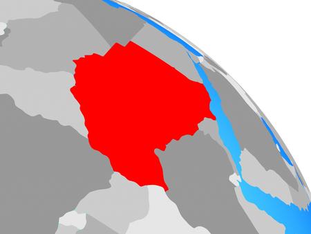 Sudan on simple blue political globe. 3D illustration.