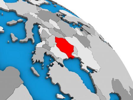 Romania on simple blue political 3D globe. 3D illustration.