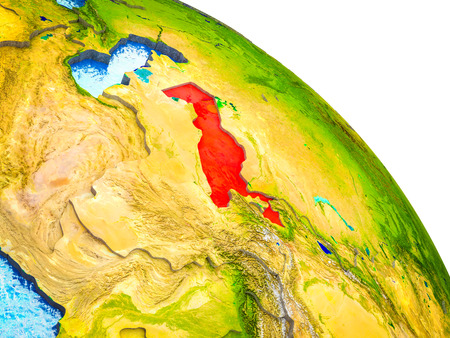 Uzbekistan Highlighted on 3D Earth model with water and visible country borders. 3D illustration.
