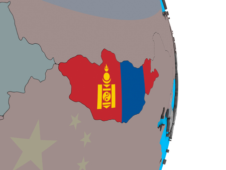 Mongolia with embedded national flag on simple political 3D globe. 3D illustration.