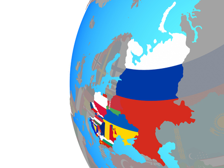 Eastern Europe with embedded national flags on blue political globe. 3D illustration.
