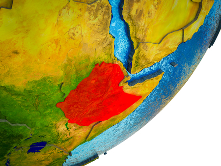 Ethiopia on 3D model of Earth with water and divided countries. 3D illustration. Stockfoto