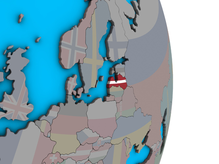 Latvia with embedded national flag on simple political 3D globe. 3D illustration.