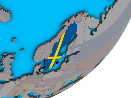 Sweden with national flag on blue political 3D globe. 3D illustration.