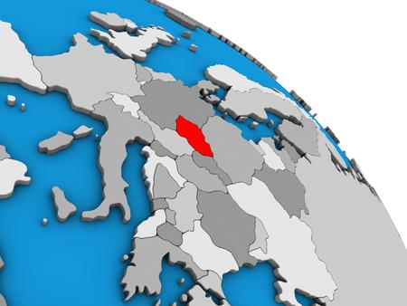 Czech republic on simple blue political 3D globe. 3D illustration. Stok Fotoğraf