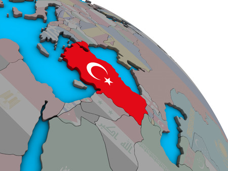 Turkey with embedded national flag on simple blue political 3D globe. 3D illustration. Stock Photo