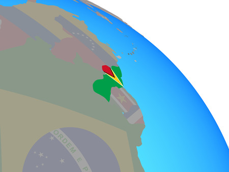 Guyana with national flag on simple blue political globe. 3D illustration. Stock Photo