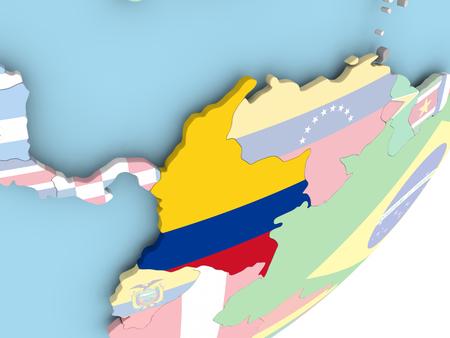 Illustration of Colombia on political globe with embedded flag. 3D illustration. Reklamní fotografie