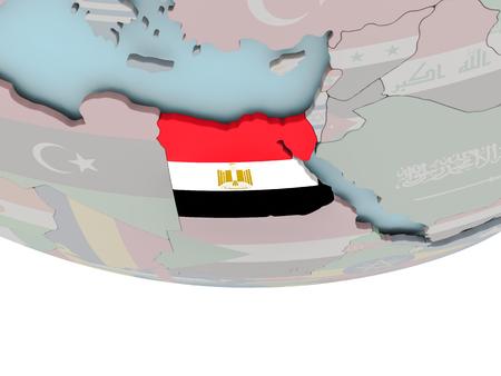 3D illustration of Egypt with embedded flag on political globe. 3D render. Stock Photo
