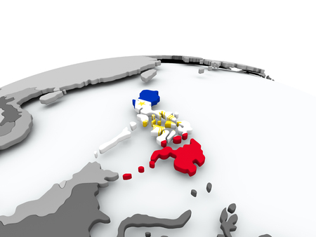 Philippines on grey political globe with embedded flag. 3D illustration.