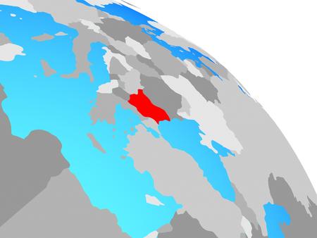 Bulgaria on simple blue political globe. 3D illustration.