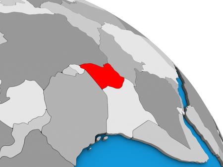 Uganda on simple blue political 3D globe. 3D illustration.