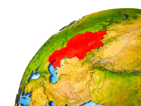 Kazakhstan on 3D Earth model with visible country borders. 3D illustration.
