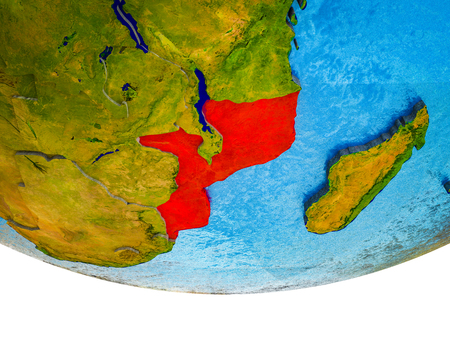 Mozambique on 3D Earth with divided countries and watery oceans. 3D illustration.