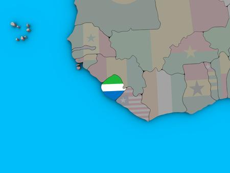 Sierra Leone with embedded national flag on blue political 3D globe. 3D illustration.