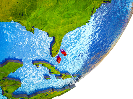 Bahamas on 3D model of Earth with water and divided countries. 3D illustration.