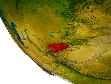 Kyrgyzstan on model of Earth with country borders and blue oceans with waves. 3D illustration.