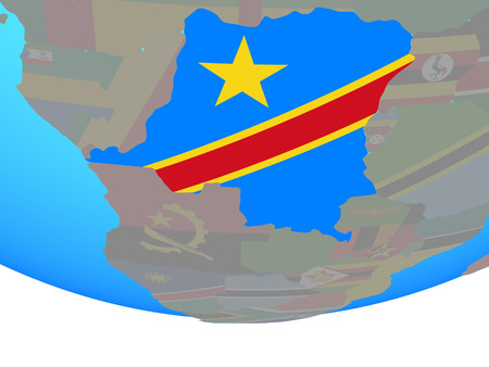 Dem Rep of Congo with national flag on simple political globe. 3D illustration. Banco de Imagens