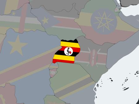 Uganda on political globe with embedded flag. 3D illustration.