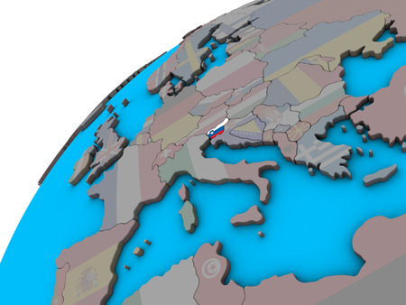 Slovenia with national flag on 3D globe. 3D illustration.