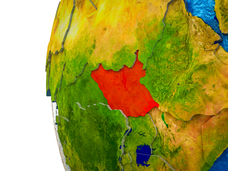 South Sudan highlighted on 3D Earth with visible countries and watery oceans. 3D illustration. 스톡 콘텐츠 - 112671012