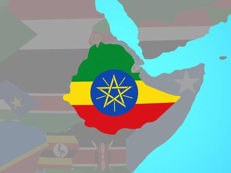 Ethiopia with national flag on blue political globe. 3D illustration.