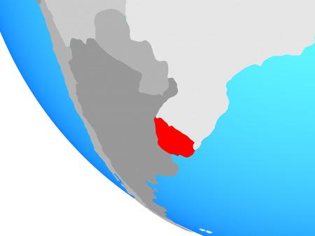 Uruguay on simple globe. 3D illustration.