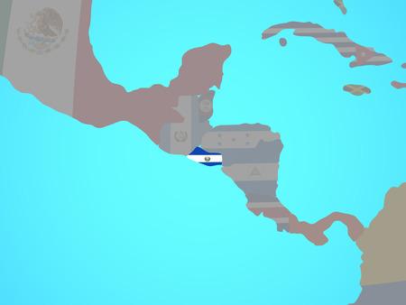 El Salvador with national flag on blue political globe. 3D illustration.