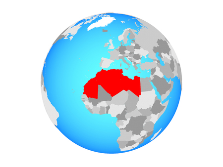 Maghreb region on blue political globe. 3D illustration isolated on white background. Фото со стока