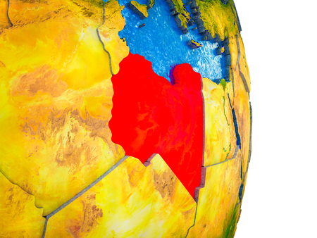 Libya on 3D model of Earth with divided countries and blue oceans. 3D illustration.