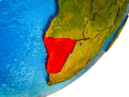 Namibia on 3D model of Earth with water and divided countries. 3D illustration. Фото со стока