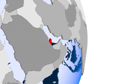 Qatar in red on model of political globe with transparent oceans. 3D illustration.