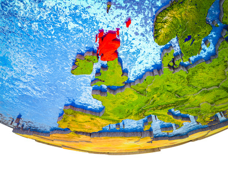 Scotland on 3D Earth with divided countries and watery oceans. 3D illustration.