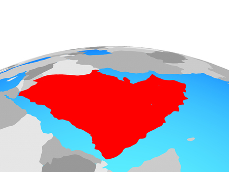 Arabia on political globe. 3D illustration.