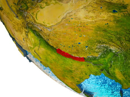 Nepal on model of Earth with country borders and blue oceans with waves. 3D illustration.