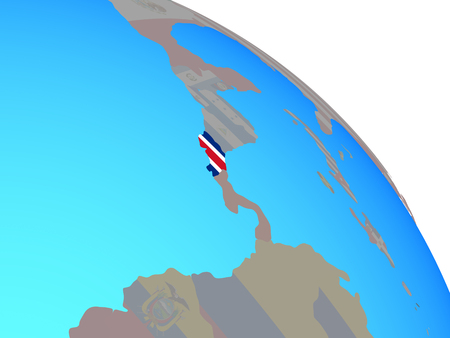Costa Rica with national flag on simple blue political globe. 3D illustration.