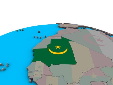Mauritania with embedded national flag on political 3D globe. 3D illustration.