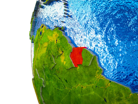 Suriname highlighted on 3D Earth with visible countries and watery oceans. 3D illustration. Stockfoto