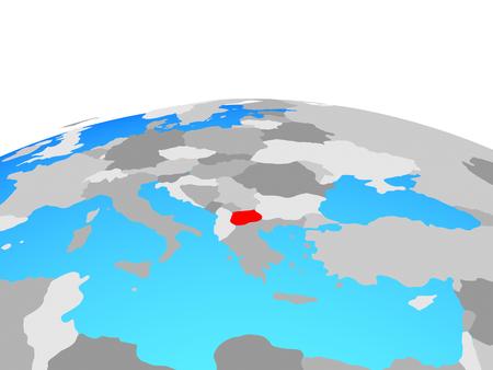Macedonia on political globe. 3D illustration. Stockfoto