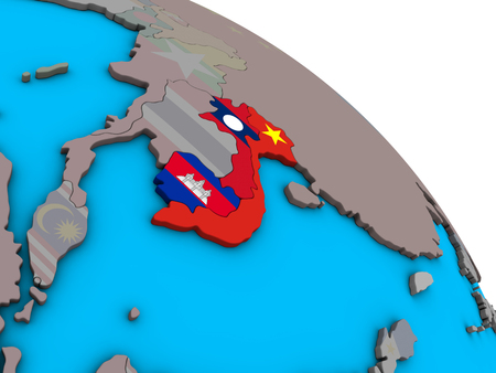 Indochina with embedded national flags on simple blue political 3D globe. 3D illustration. Reklamní fotografie