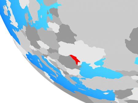 Moldova on simple globe. 3D illustration.