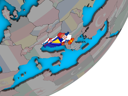 Former Yugoslavia with national flags on blue political 3D globe. 3D illustration. Imagens