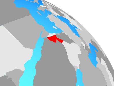 Jordan on simple blue political globe. 3D illustration.
