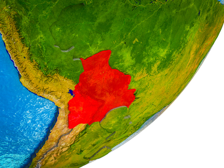 Bolivia on 3D model of Earth with water and divided countries. 3D illustration. Reklamní fotografie