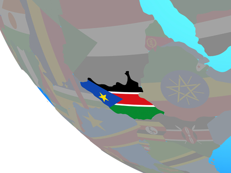 South Sudan with national flag on simple globe. 3D illustration.
