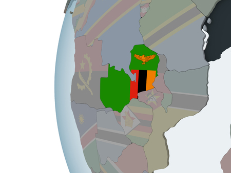 Zambia on political globe with embedded flag. 3D illustration.