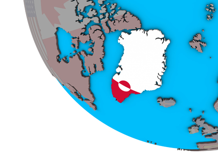 Greenland with embedded national flag on simple 3D globe. 3D illustration. Stockfoto