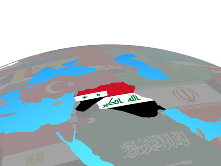 Islamic State with national flags on political globe. 3D illustration. Banco de Imagens